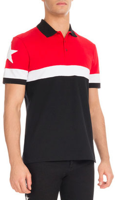 Givenchy Cuban-Fit Colorblock Polo Shirt, Red/White/Black $595 thestylecure.com