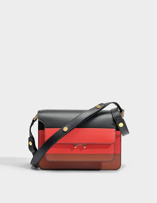 Marni Trunk Medium Tricolor Bag in Black, Red and Maroon Calf Leather