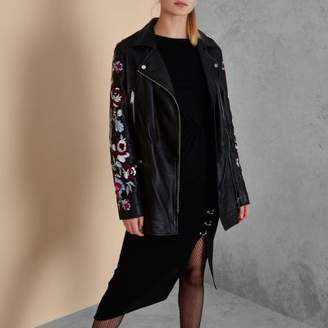 River Island Black RI Studio embroidered leather jacket