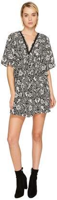 The Kooples Short Sleeve Dress with Print Design, Front Zip and Waist Frills Women's Dress