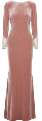 Badgley Mischka Crystal-Embellished Mesh-Paneled Velvet Gown