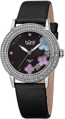 Burgi Womens Flower Dial Black Leather Strap Watch