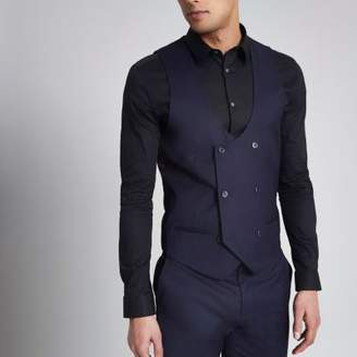 River Island Mens Navy double breasted tuxedo vest