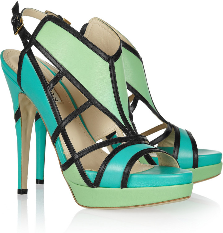 Burak Uyan Color-block cutout leather sandals