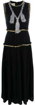 Gucci embellished pleated maxi dress