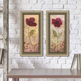 Alcott Hill 'Poppy Passion I' 2 Piece Framed Print Set