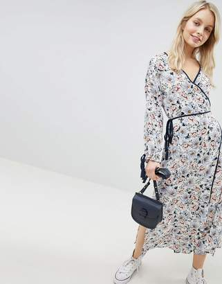 Glamorous Midi Wrap Dress With Side Splits And Tie Waist In Floral