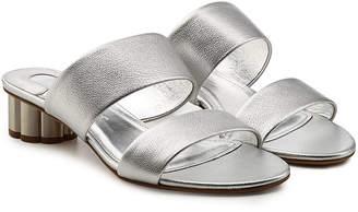 Salvatore Ferragamo Belluno Metallic Leather Sandals