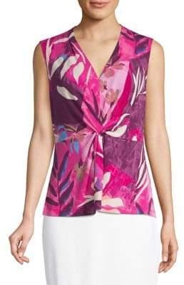 Donna Karan Floral Sleeveless Knot Tank