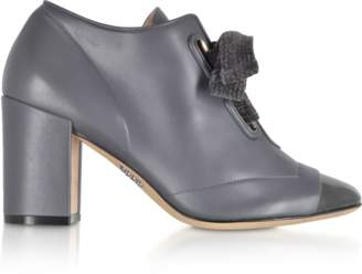 Rodo Gray Leather Heel Pumps w/Velvet Bow