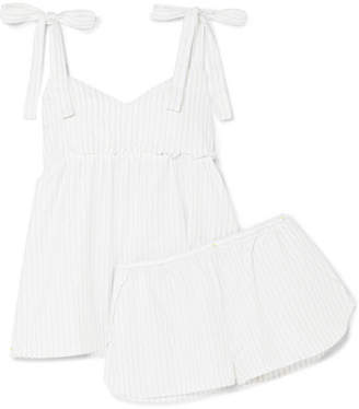 Three J NYC Jackie Metallic Striped Cotton Pajama Set - White
