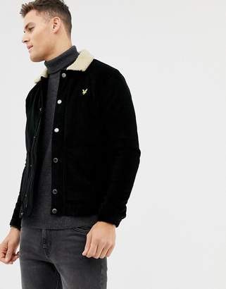 Lyle & Scott jumbo cord jacket with fleece collar in black