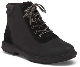 Wide Lace Up Leather Comfort Booties