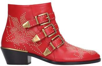 Chloé Susanna Low Heels Ankle Boots In Red Leather