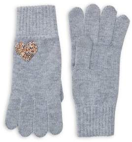 Lord & Taylor Embellished Heather Knit Gloves