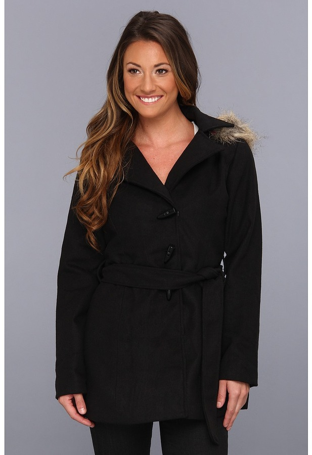 Dollhouse Wool Fashion Blanket Coat (Black) - Apparel