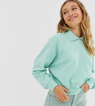 Monki oversized short sweatshirt with turtleneck in sage green