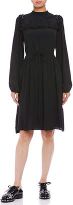 N°21 (ヌメロ ヴェントゥーノ) - N 21 シルク混 ヨークフリル リボンベルテッド 長袖ドレス ブラック 36