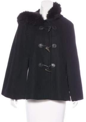 MICHAEL Michael Kors Wool Fur-Trimmed Cape