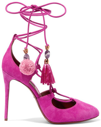 Dolce & Gabbana - Embellished Lace-up Suede Pumps - Fuchsia $995 thestylecure.com