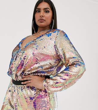 TFNC Plus Plus wrap front bodysuit in multi sequin