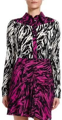 No.21 No. 21 Zebra-Print Two-Tone Long-Sleeve Blouse