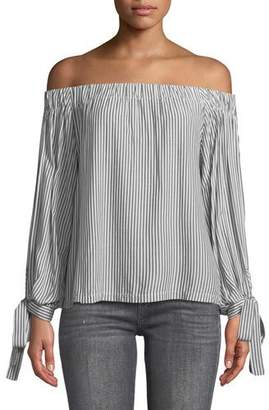 7 For All Mankind Off-the-Shoulder Tie-Cuff Striped Top