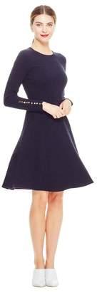 Lela Rose Textured Jacquard Full Skirt Knit Dress