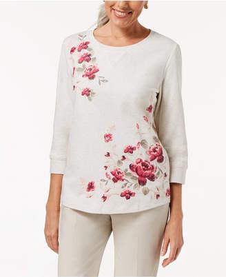 Karen Scott Floral-Print French Terry Sweatshirt Top, Created for Macy's