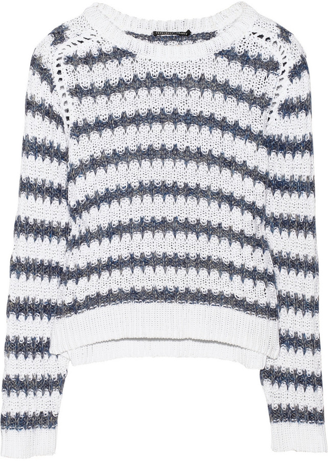 Theyskens' Theory Koro striped cotton and linen-blend sweater