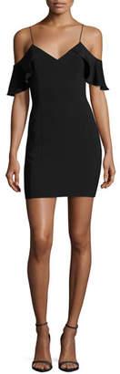 Jay Godfrey Luther Silk-Trim Cold-Shoulder Mini Cocktail Dress, Black