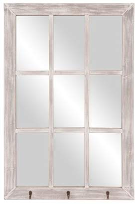 Patton Wall Decor 24x36 Distressed White Windowpane Wall Mirror with Hooks
