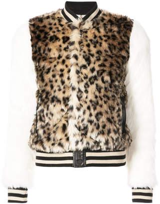 Mother leopard print faux fur bomber jacket