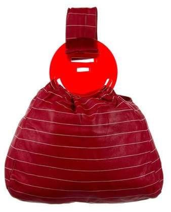 Emporio Armani Striped Leather Handle Bag