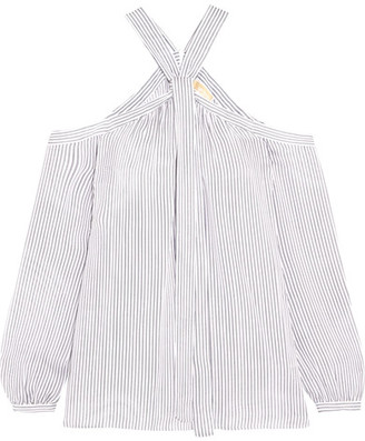 MICHAEL Michael Kors - Cold-shoulder Striped Silk Crepe De Chine Blouse - White $225 thestylecure.com