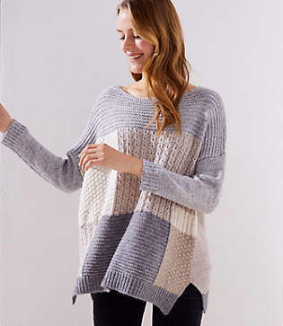 LOFT Patchwork Dolman Sweater