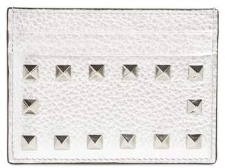 Valentino Rockstud Metallic Leather Card Holder