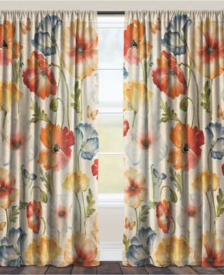"Laural Home Multi Watercolor Poppies 84"" Sheer Window Panel"
