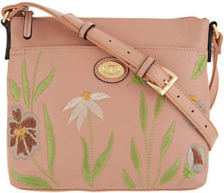 Tignanello Embroidered Leather Crossbody Bag- Madison