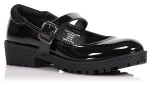George Girls Black Micro-Fresh Patent School Shoes