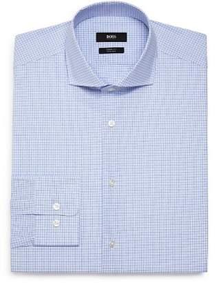 BOSS Dobby-Check Regular Fit Dress Shirt