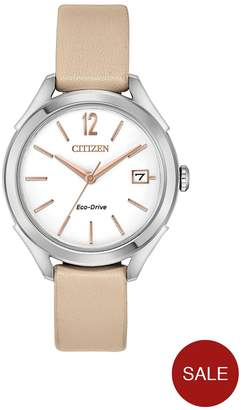 Citizen Eco-Drive White Dial Nude Leather Strap Ladies Watch