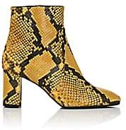 Barneys New York Women's Square-Toe Snakeskin Ankle Boots-Yellow