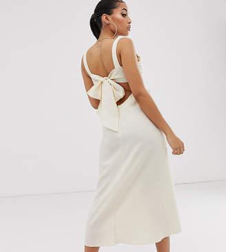 Asos DESIGN Petite knot front linen maxi dress with tie back