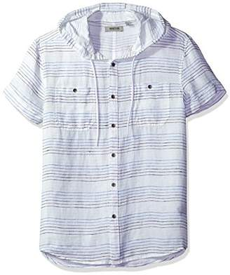 Kenneth Cole Reaction Men's Short Sleeve Hood Horizontal Stripe Woven Shirt