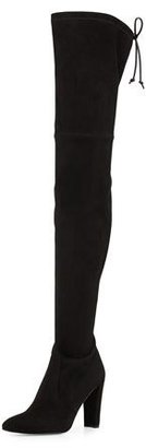 Stuart Weitzman Alllegs Suede Over-the-Knee Boot, Black $798 thestylecure.com