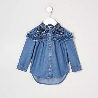 River Island Mini girls blue frill denim swing shirt