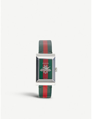 Gucci G-frame stainless steel and grosgrain strap watch