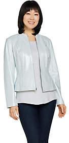 Isaac Mizrahi Live! Pearlized Lamb Leather ZipFront Jacket