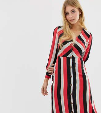 Wednesday's Girl midi tea dress with button front in diagonal stripe